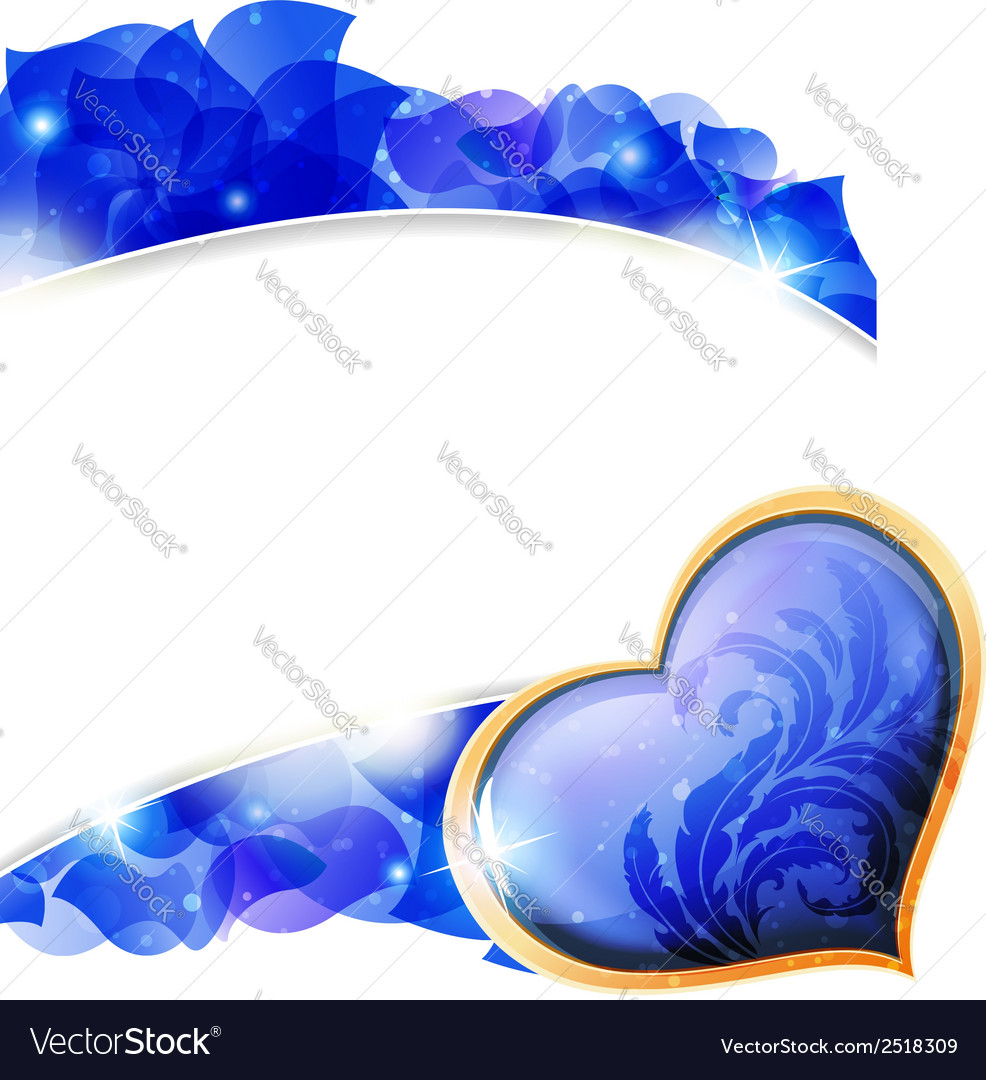 Blue valentines heart and petals vector | Price: 1 Credit (USD $1)