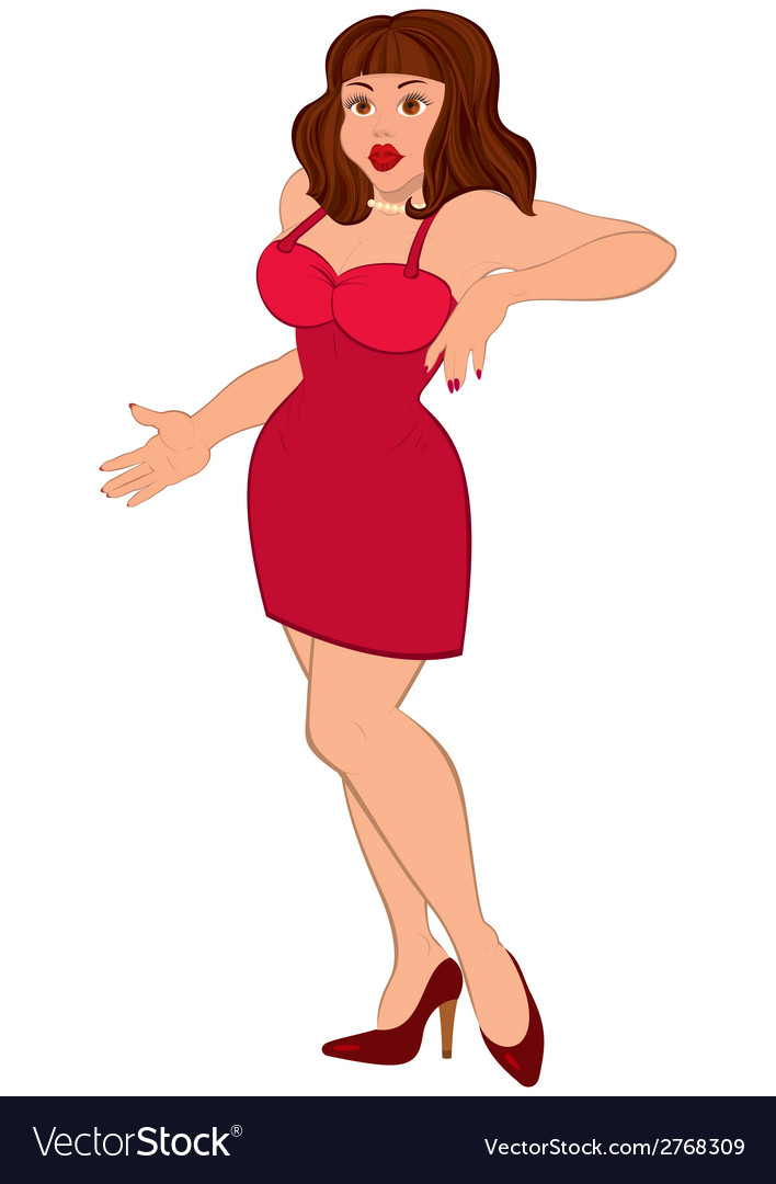 Cartoon sexy brunet woman in mini red dress vector | Price: 1 Credit (USD $1)