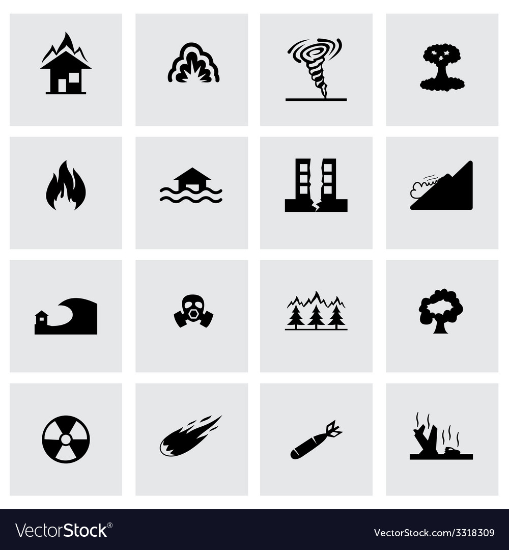 Disaster icon set vector | Price: 1 Credit (USD $1)