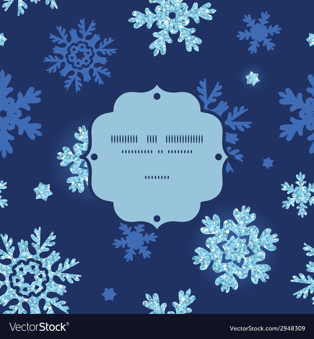 Glitter snowflakes dark frame seamless pattern vector | Price: 1 Credit (USD $1)