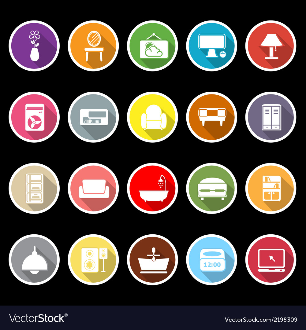 Home furniture icons with long shadow vector | Price: 1 Credit (USD $1)