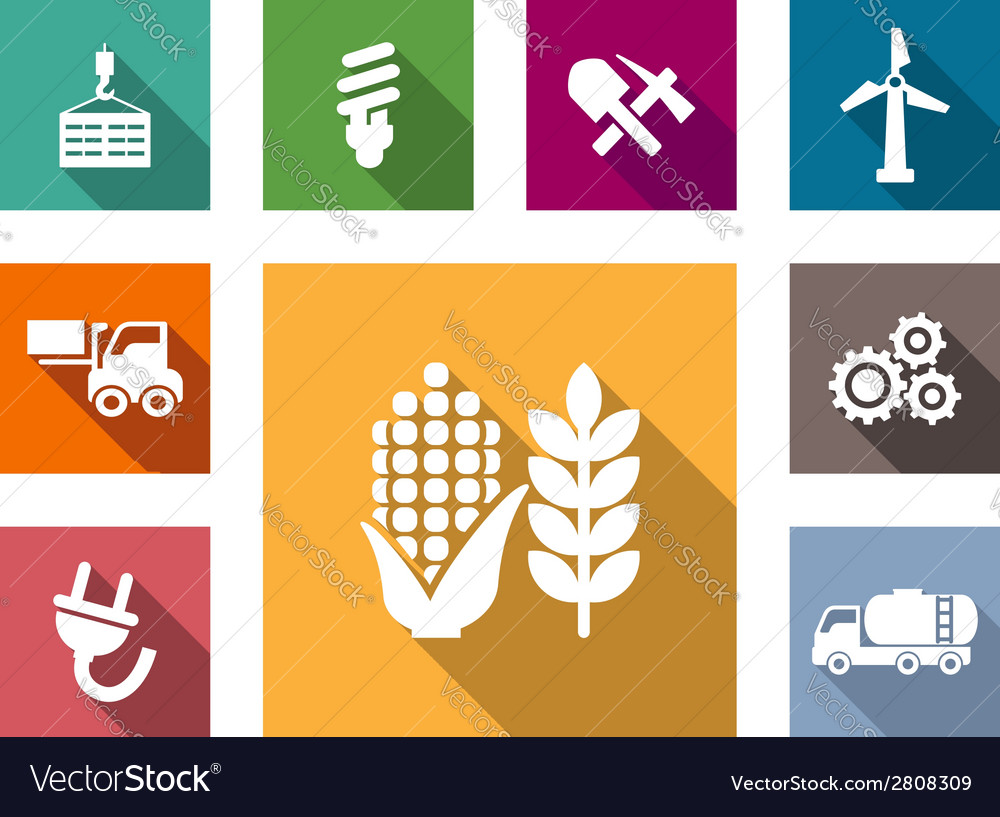 Industrial flat icons set vector | Price: 1 Credit (USD $1)