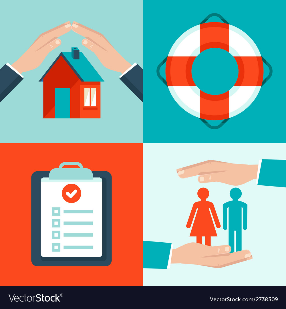 Insurance concepts in flat style vector | Price: 1 Credit (USD $1)