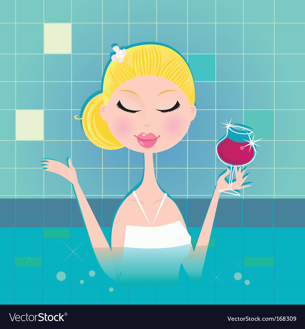 Lady with drink in whirlpool vector   Price: 1 Credit (USD $1)