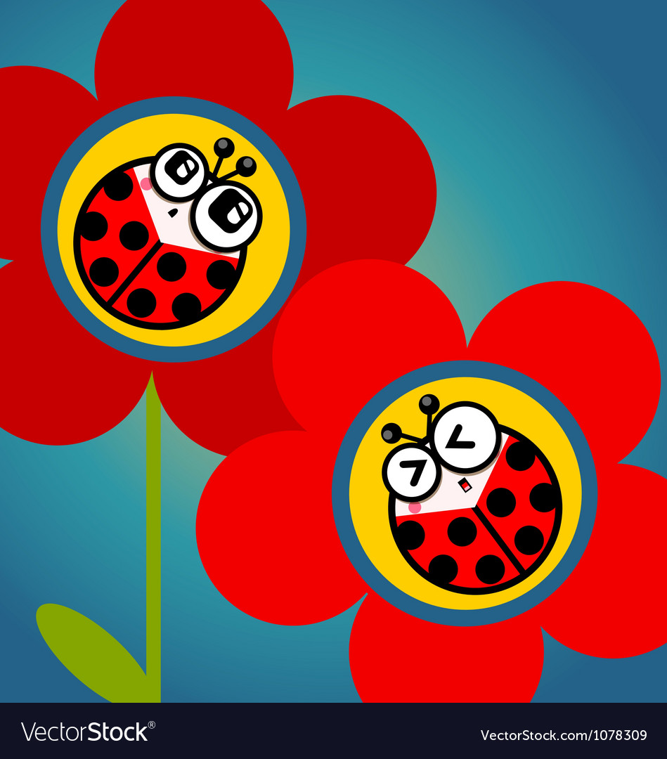 Ladybug flower vector | Price: 1 Credit (USD $1)