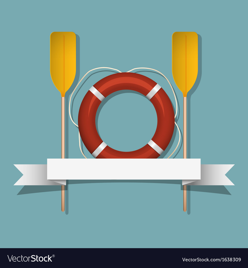 Lifebuoy and paddles vector | Price: 1 Credit (USD $1)