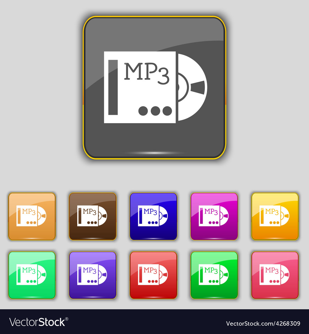 Mp3 player icon sign set with eleven colored vector | Price: 1 Credit (USD $1)