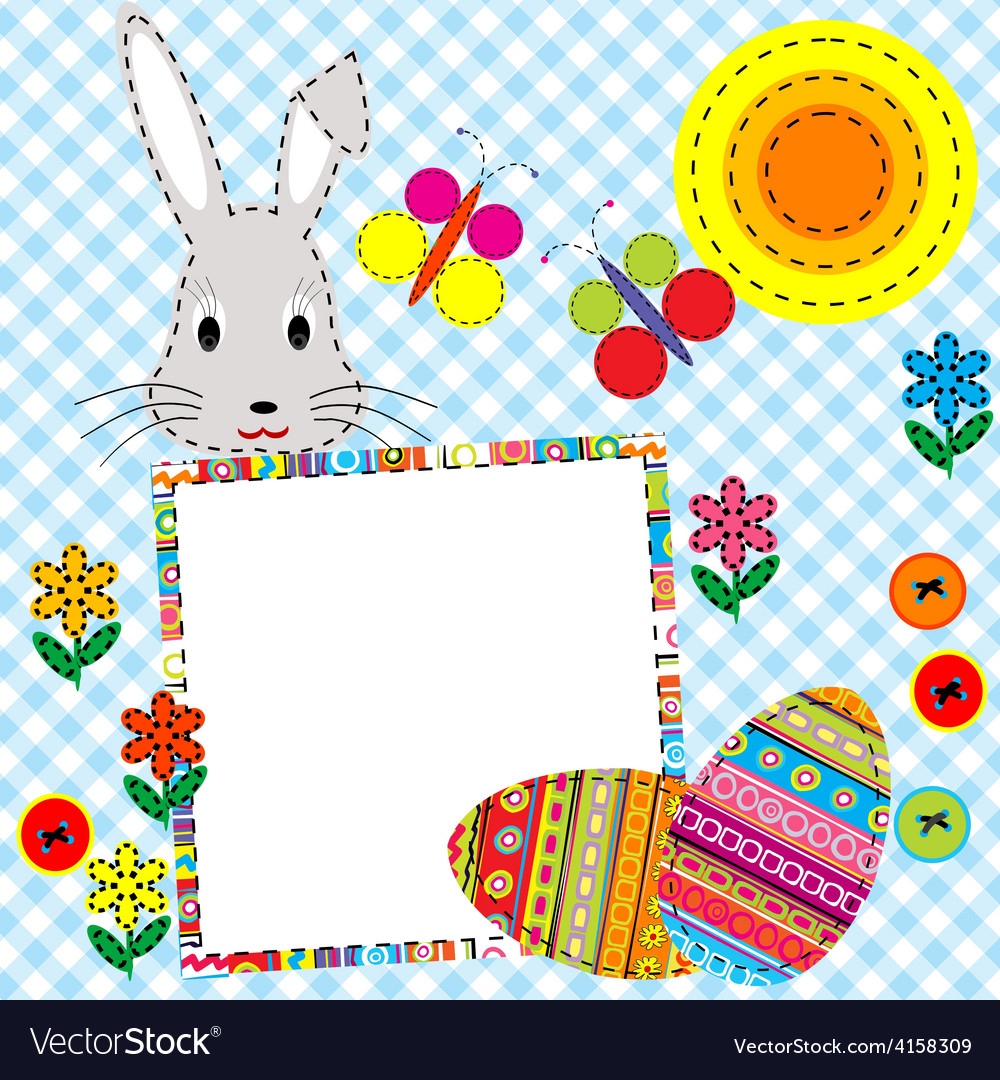 Patchwork easter card with eggs and rabbit vector | Price: 1 Credit (USD $1)