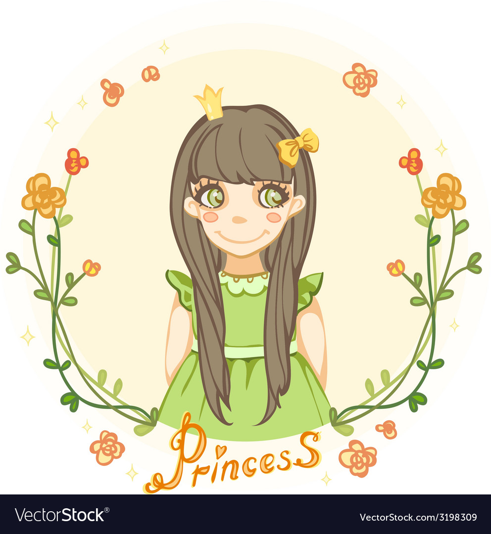 Princess girl in the floral frame vector | Price: 1 Credit (USD $1)