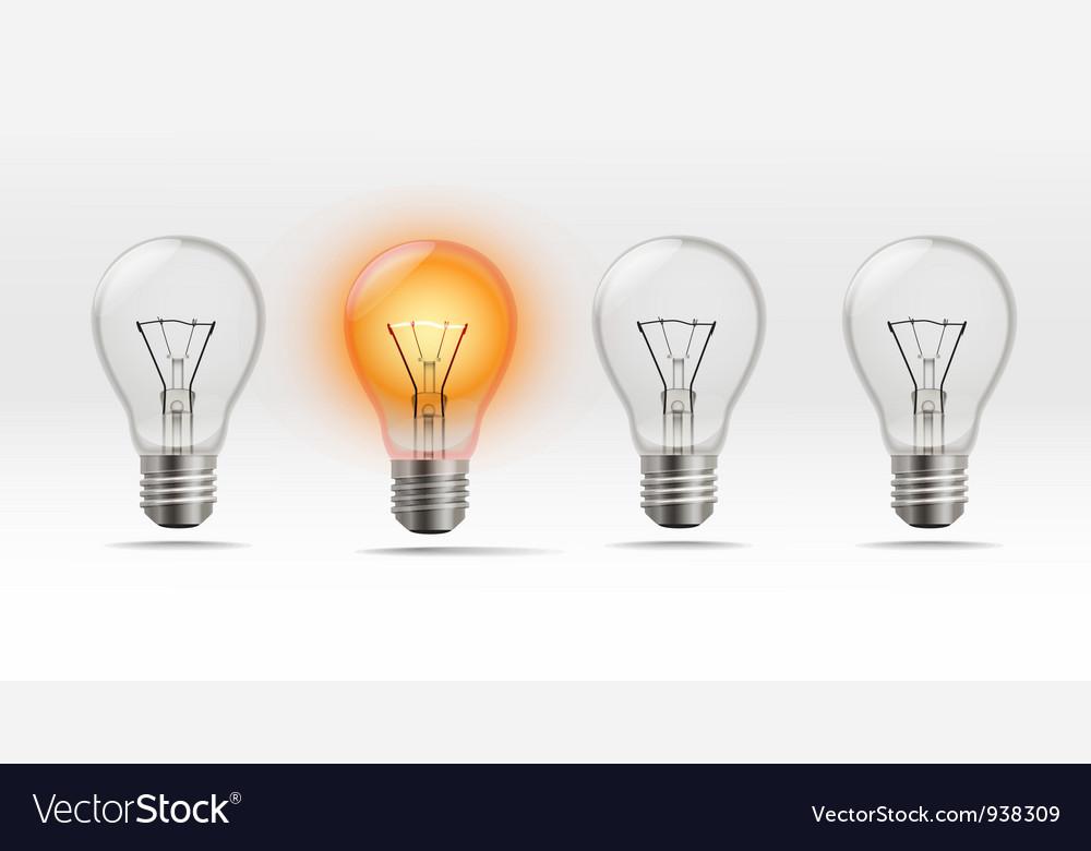 Realistic light bulb vector | Price: 1 Credit (USD $1)