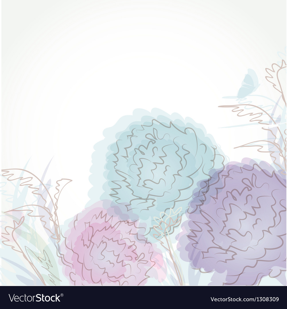 Vintage floral card with handdrawn flowers vector | Price: 1 Credit (USD $1)