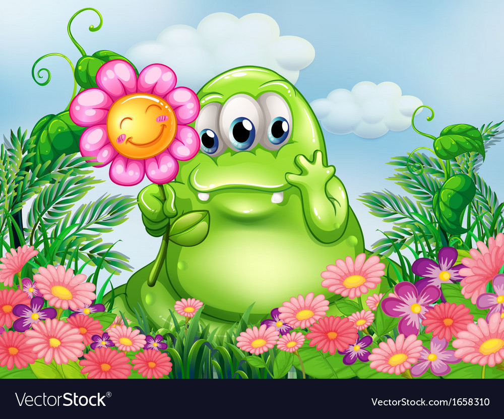 A fat green monster in the garden vector | Price: 3 Credit (USD $3)