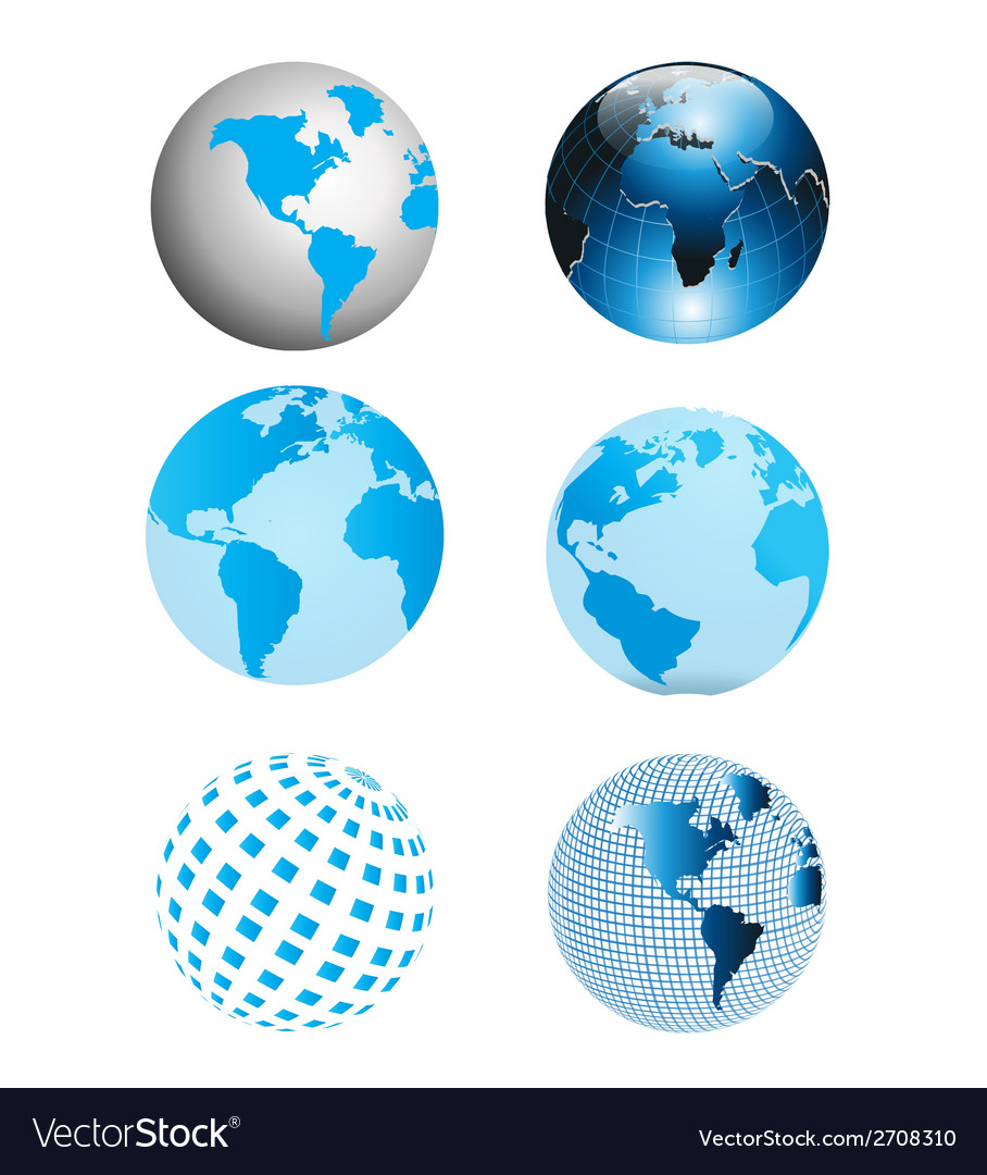 Blue earth globe collection vector | Price: 1 Credit (USD $1)