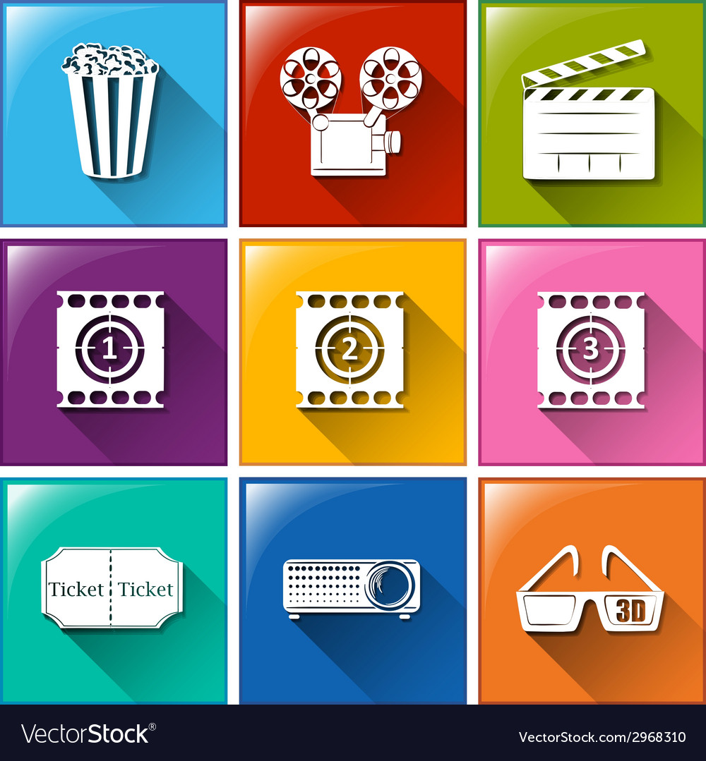 Buttons with the things found at the movie house vector | Price: 1 Credit (USD $1)