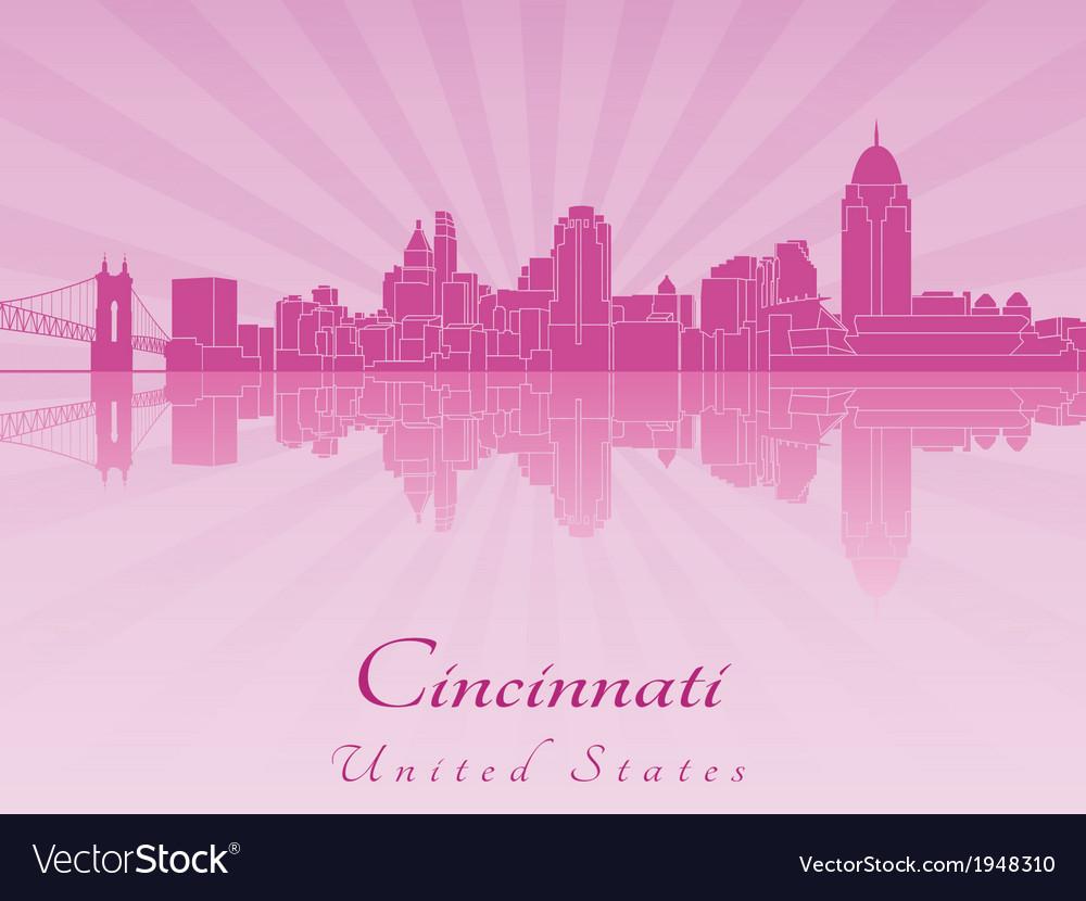 Cincinnati skyline in purple radiant orchid vector | Price: 1 Credit (USD $1)