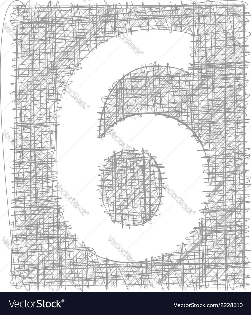 Freehand typography number 6 vector | Price: 1 Credit (USD $1)