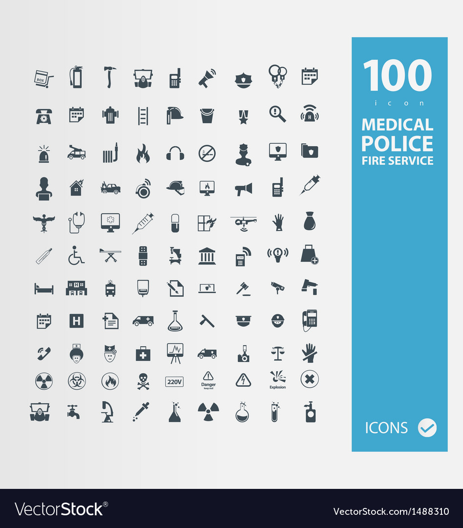 Police  medical  fire services icon set vector | Price: 1 Credit (USD $1)