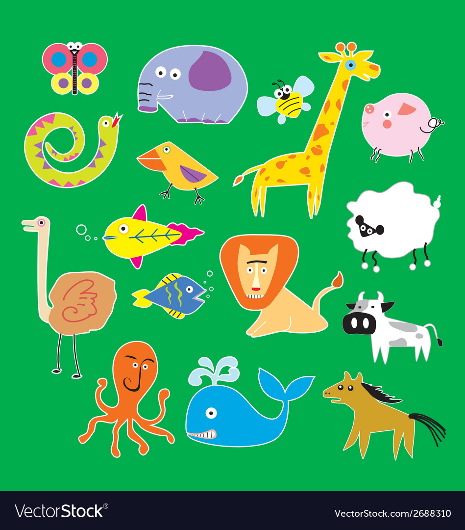 Set of zoo animals vector | Price: 1 Credit (USD $1)