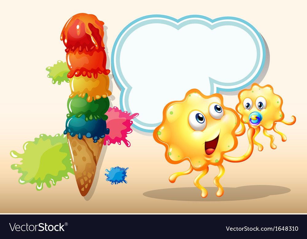 Two orange monsters near the big icecream vector | Price: 1 Credit (USD $1)
