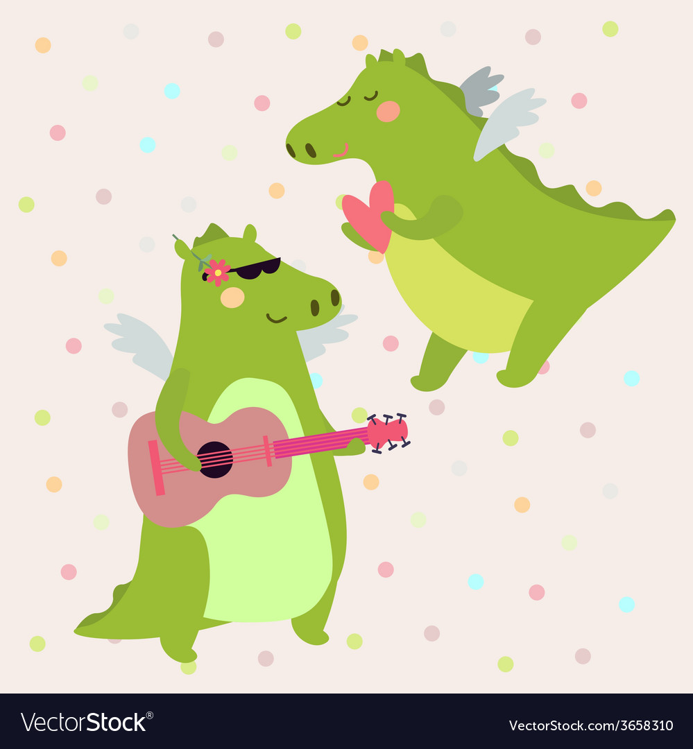Valentine with dinosaur vector | Price: 1 Credit (USD $1)