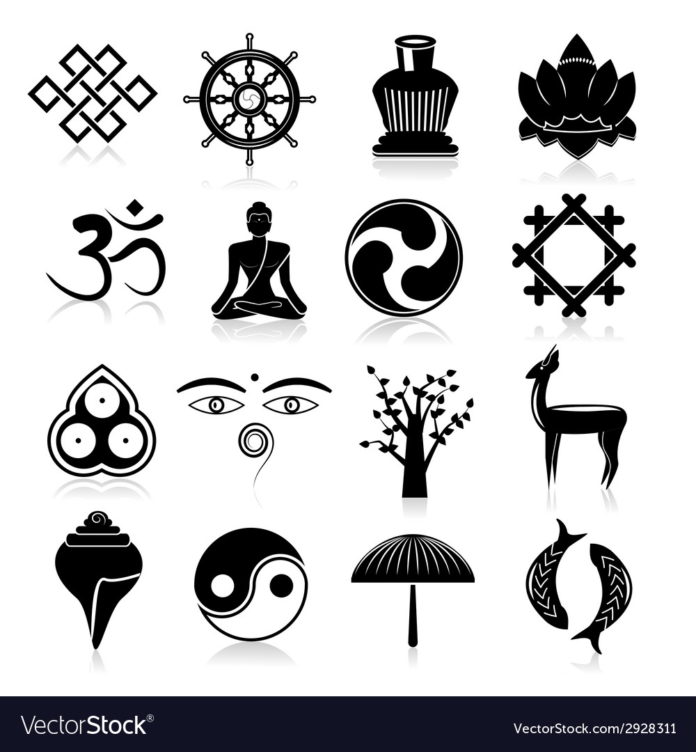 Buddhism icons set black vector | Price: 1 Credit (USD $1)