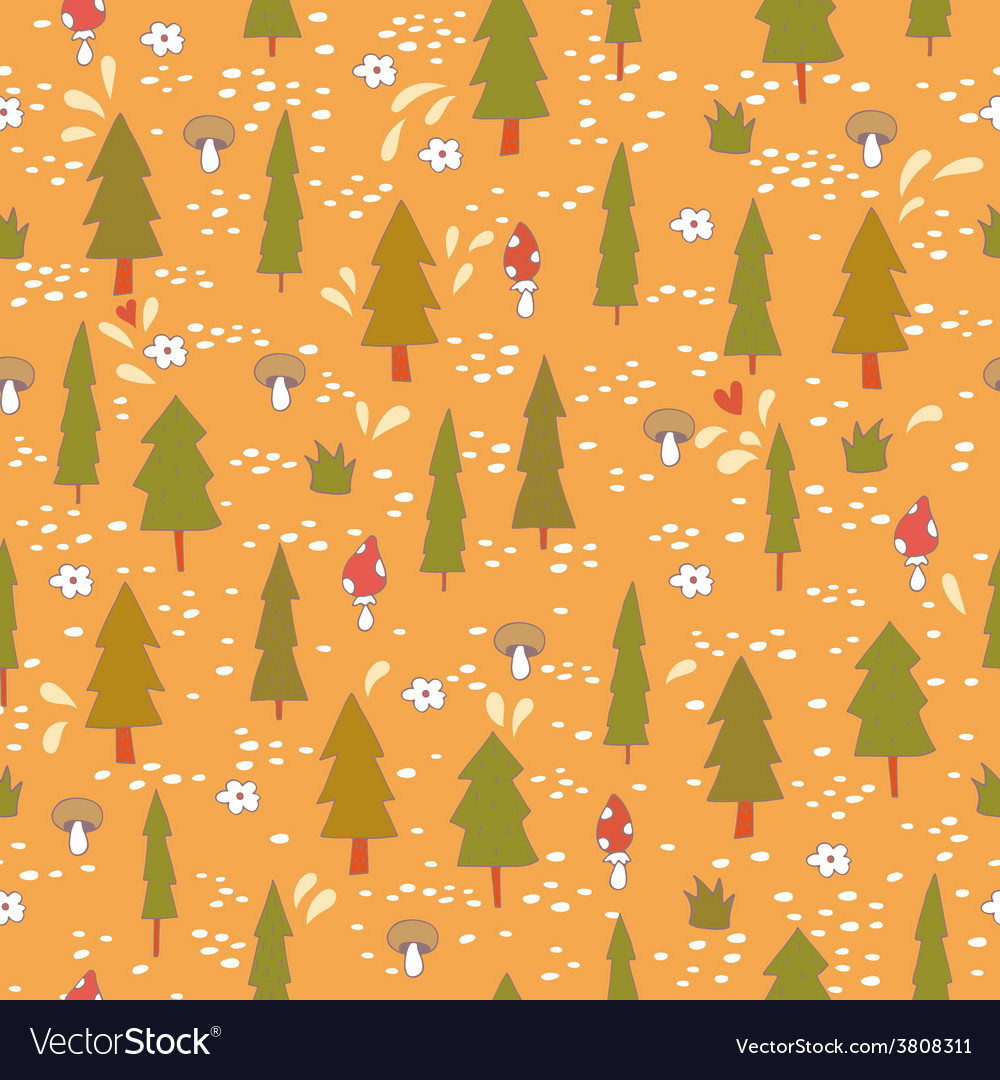 Cute seamless pattern with forest trees vector | Price: 1 Credit (USD $1)