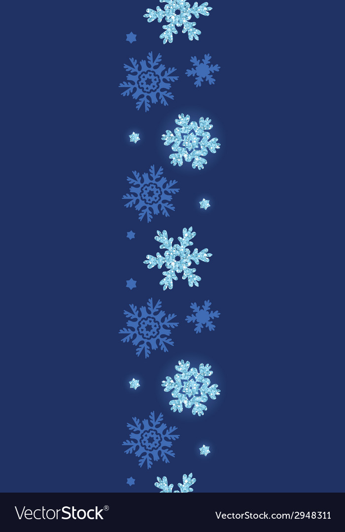 Glitter snowflakes dark vertical border seamless vector | Price: 1 Credit (USD $1)