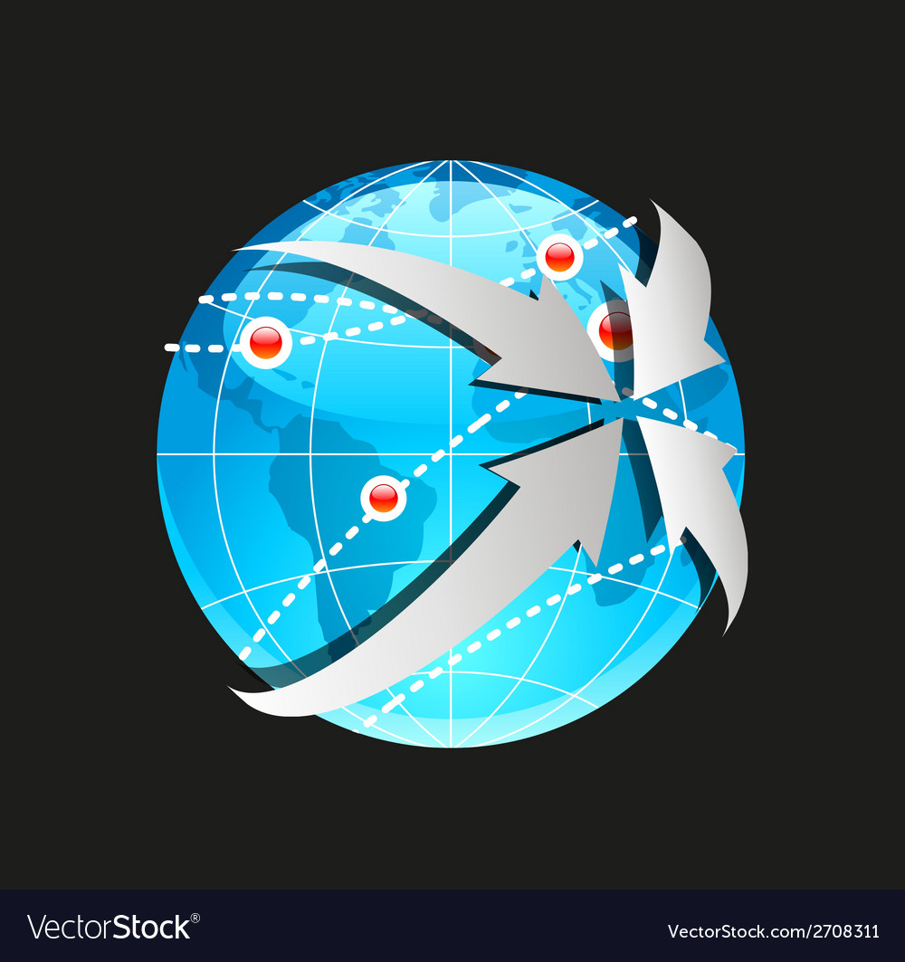 Globe and arrows on white background vector | Price: 1 Credit (USD $1)