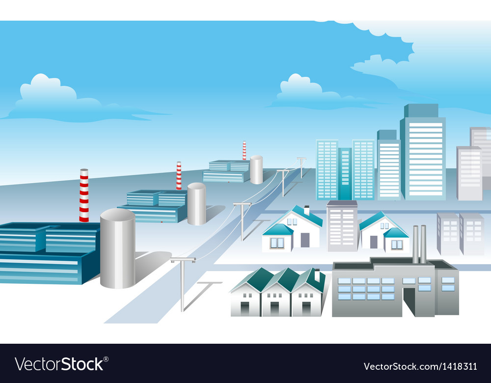 Industrial area vector | Price: 1 Credit (USD $1)