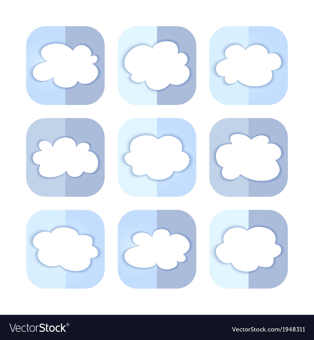 Light blue cloud icon set vector | Price: 1 Credit (USD $1)
