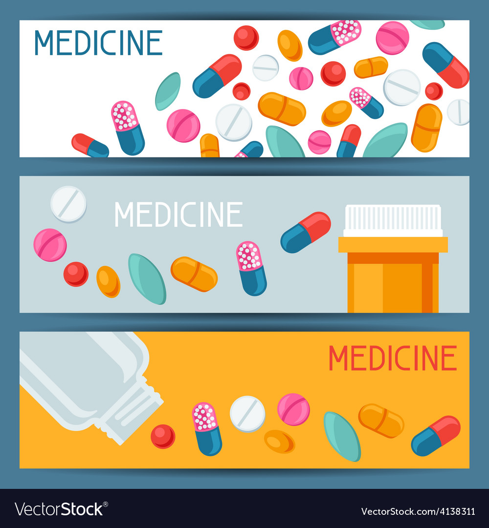 Medical banners design with pills and capsules vector | Price: 1 Credit (USD $1)