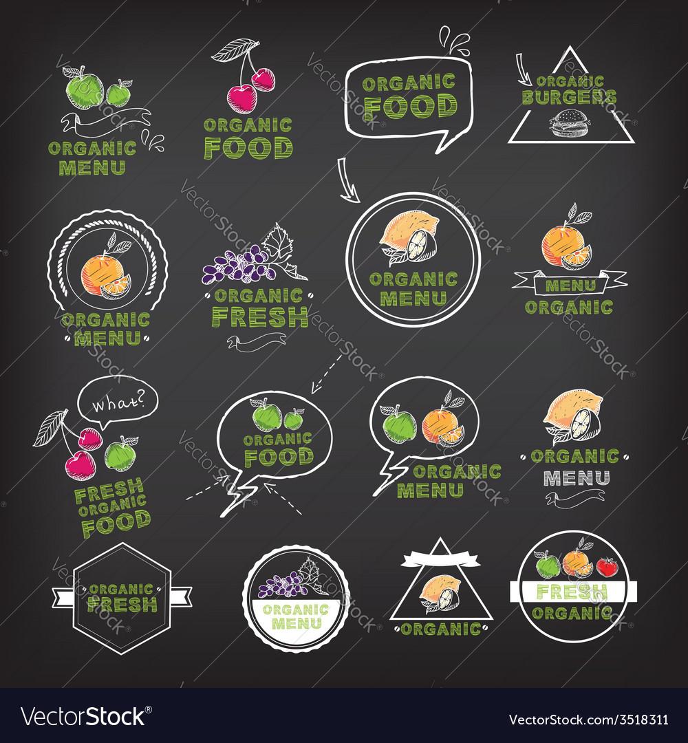 Organic food icons vegan symbols vector | Price: 1 Credit (USD $1)