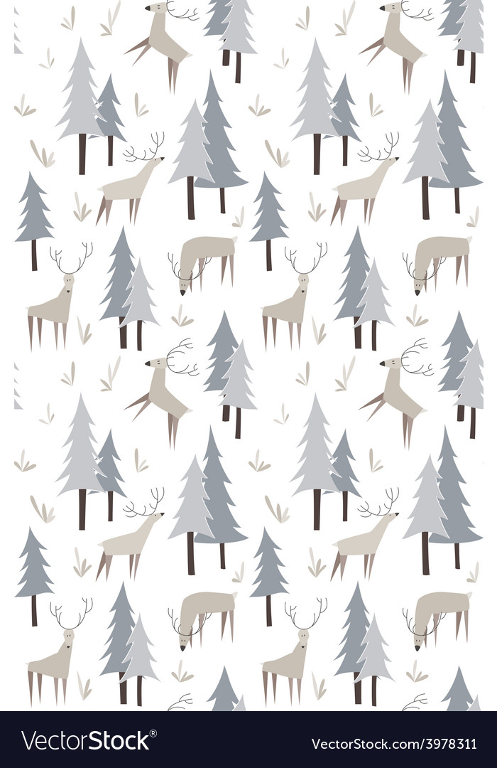 Pattern with deers and trees vector   Price: 1 Credit (USD $1)