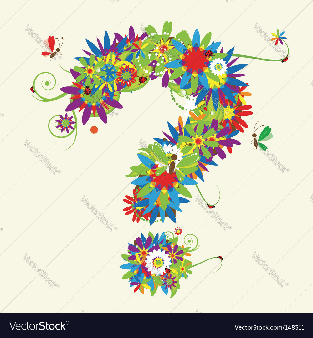 Question mark floral design vector | Price: 1 Credit (USD $1)