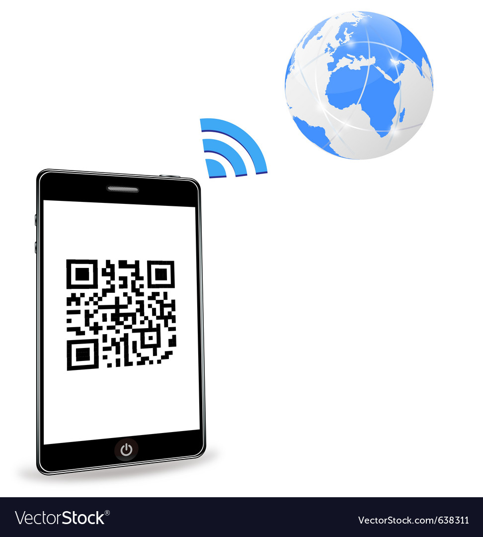 Smart phone with qr code vector | Price: 1 Credit (USD $1)