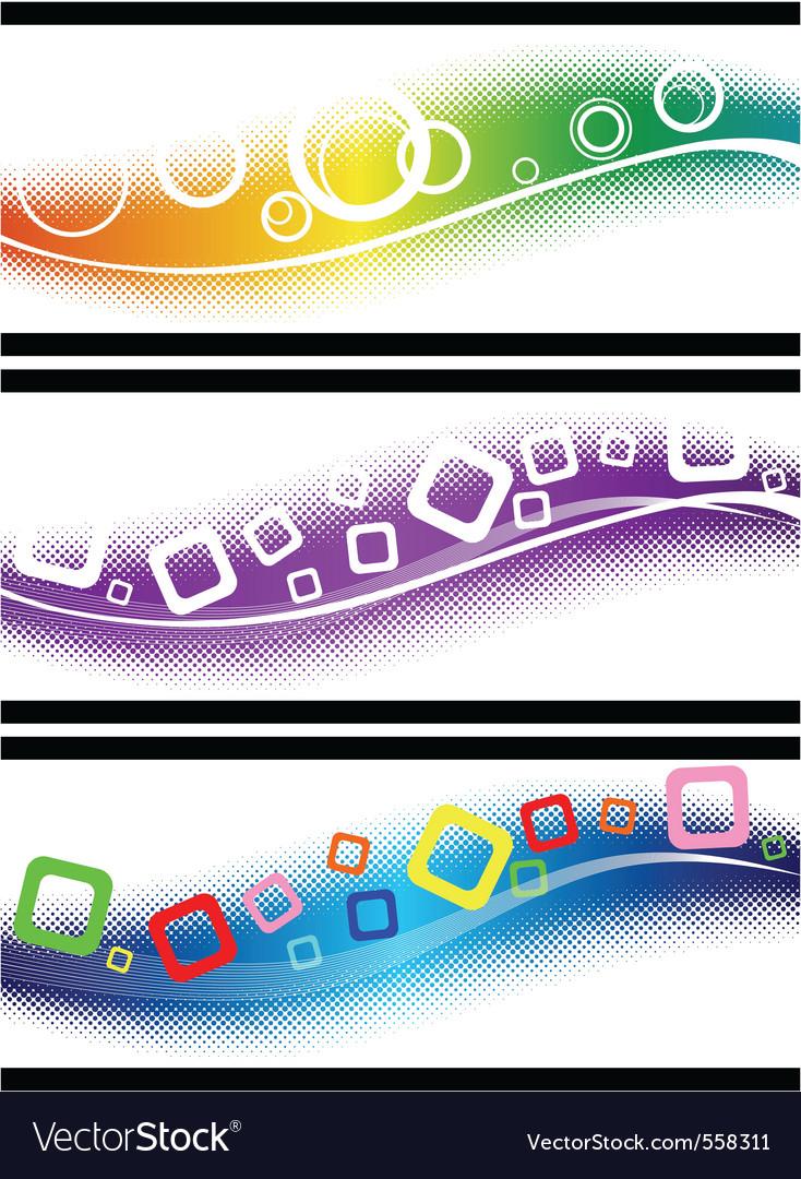 Three halftone design elements vector   Price: 1 Credit (USD $1)