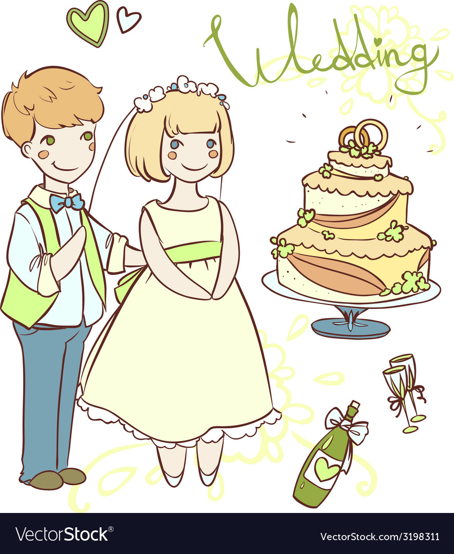 Wedding set with newlyweds vector | Price: 1 Credit (USD $1)