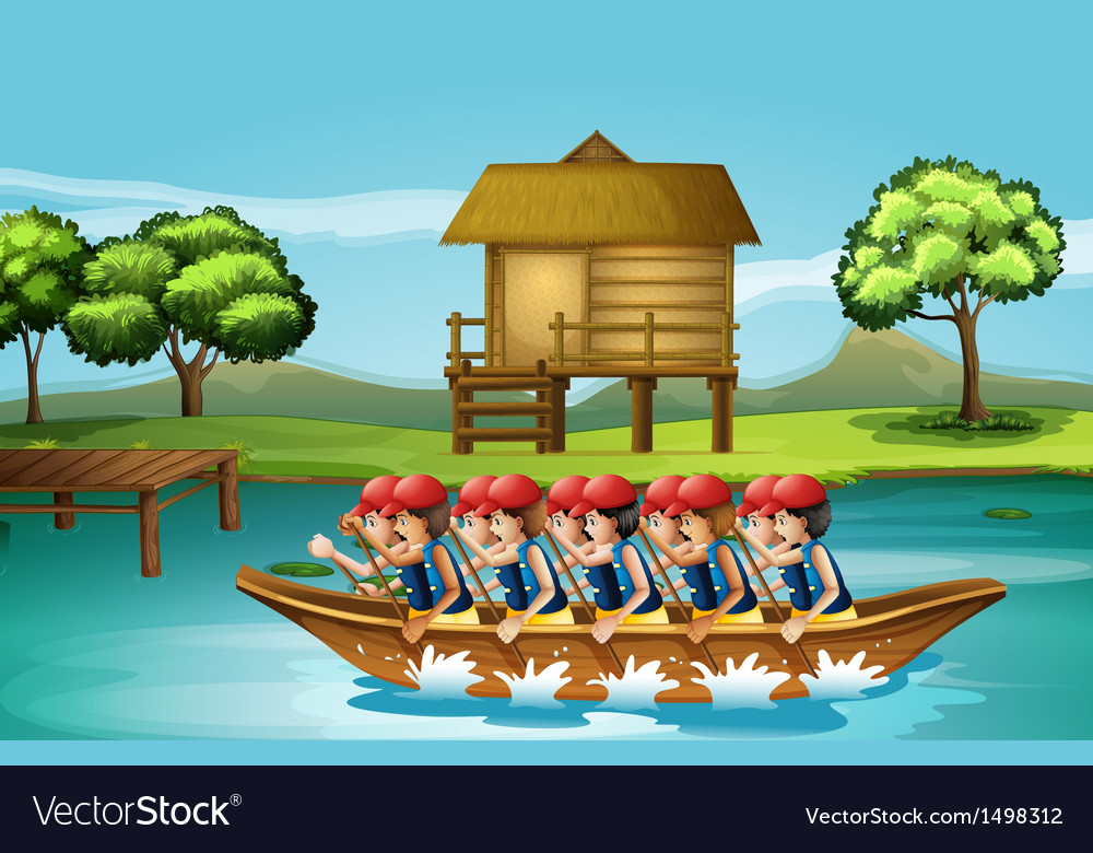 A group of men boating vector | Price: 1 Credit (USD $1)