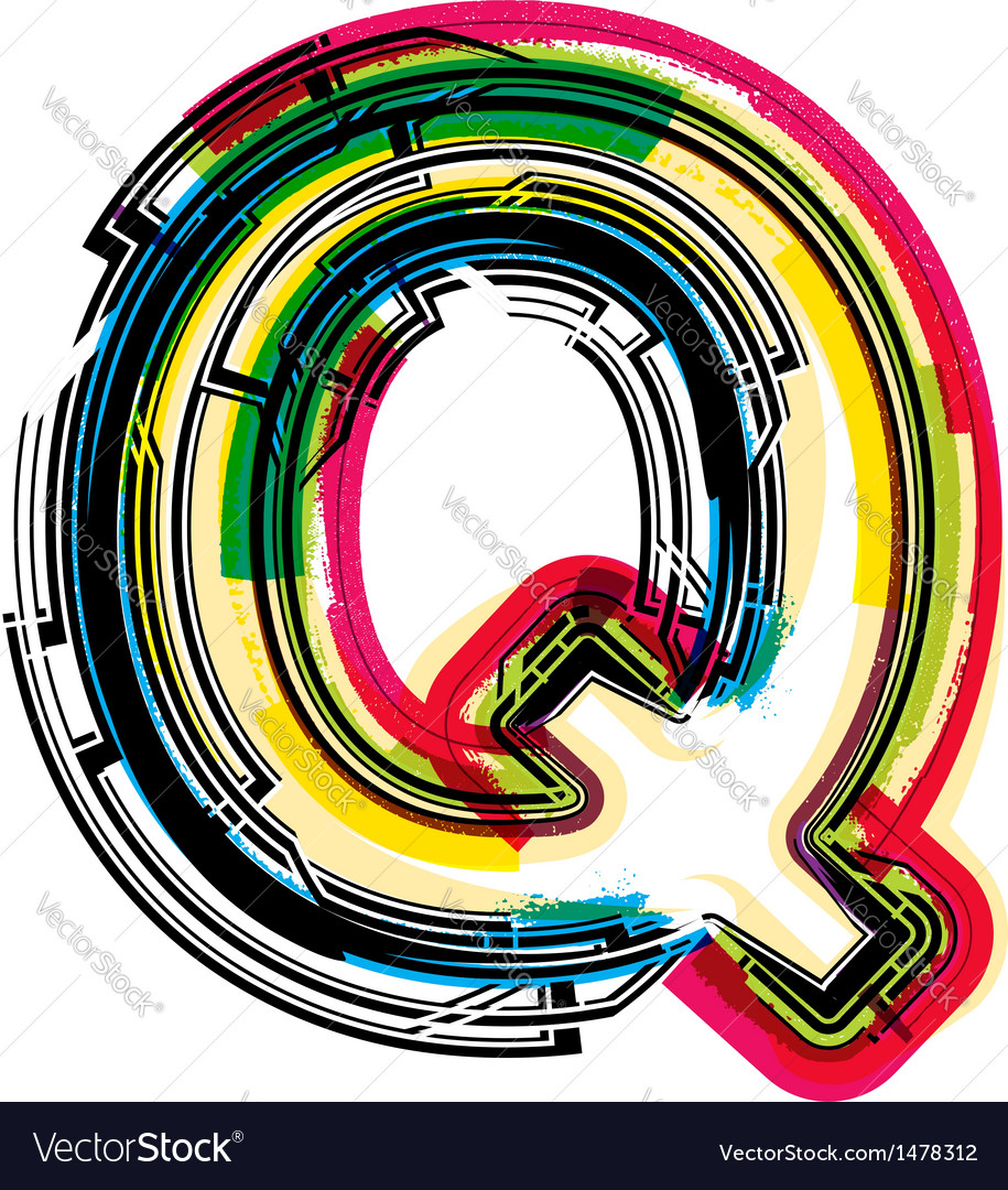 Colorful grunge font letter q vector | Price: 1 Credit (USD $1)