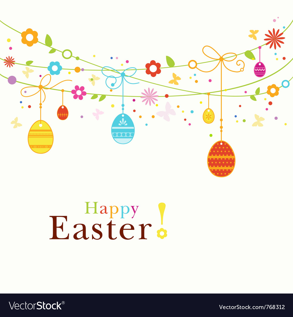 Colorful happy easter border vector | Price: 1 Credit (USD $1)