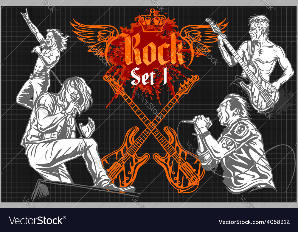 Rock-stars on rock concert - set vector | Price: 3 Credit (USD $3)