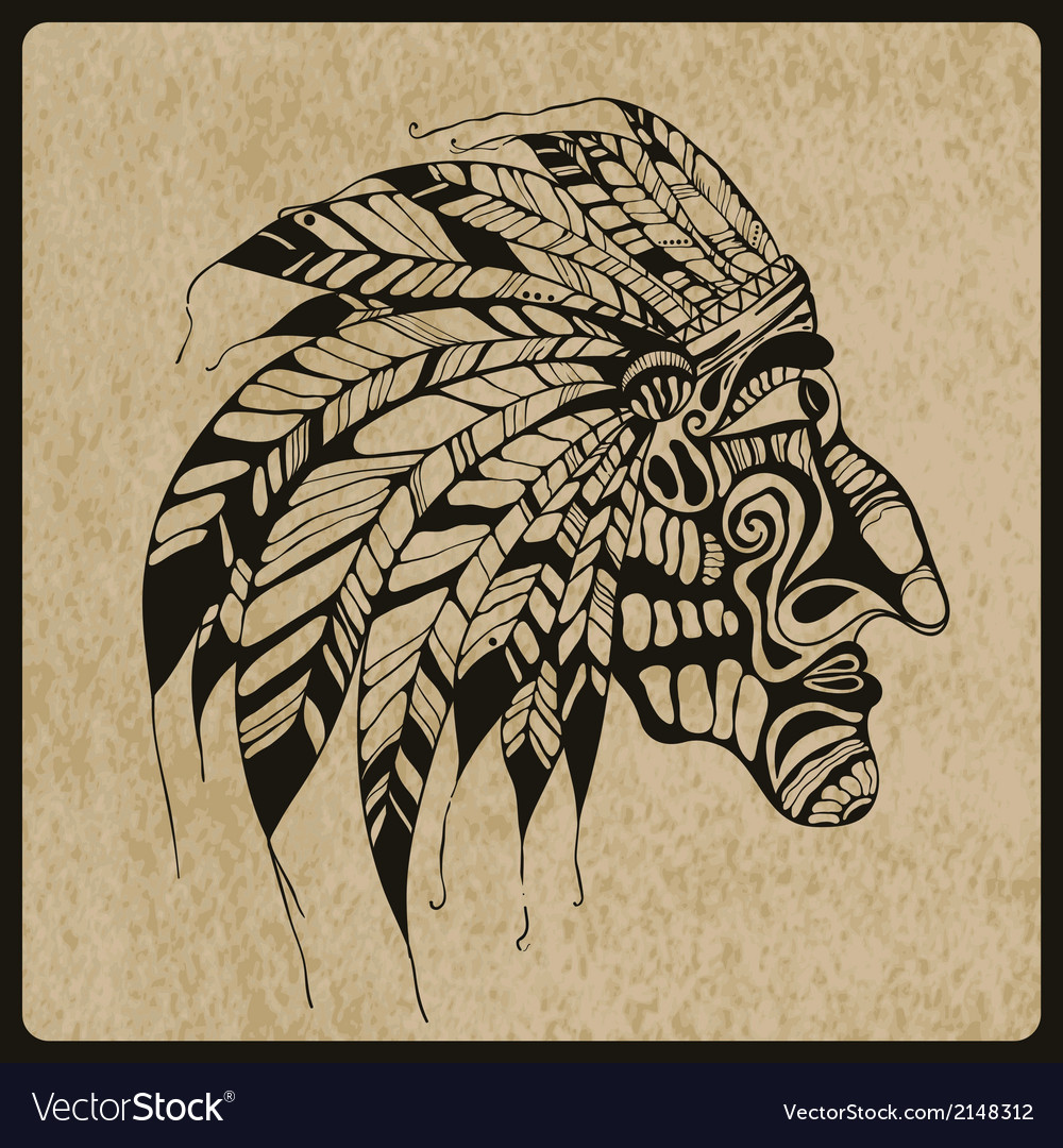 Tattoo native american indian chief vector | Price: 1 Credit (USD $1)