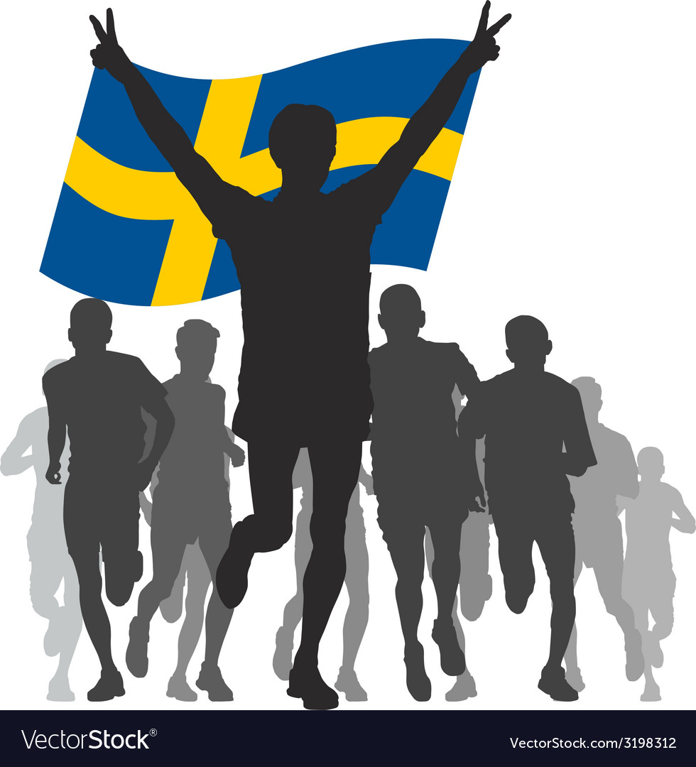 Winner with the sweden flag at the finish vector | Price: 1 Credit (USD $1)
