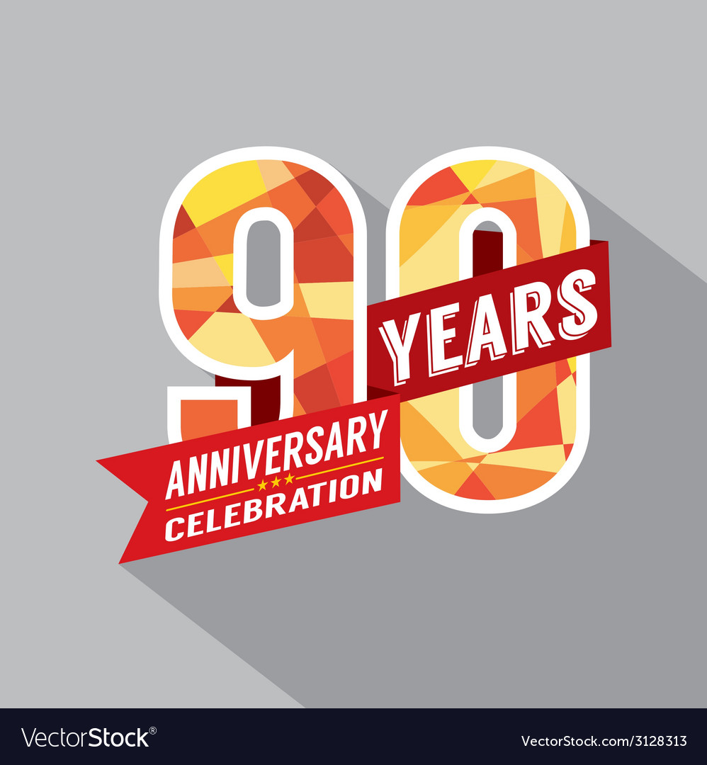 90th years anniversary celebration design vector | Price: 1 Credit (USD $1)