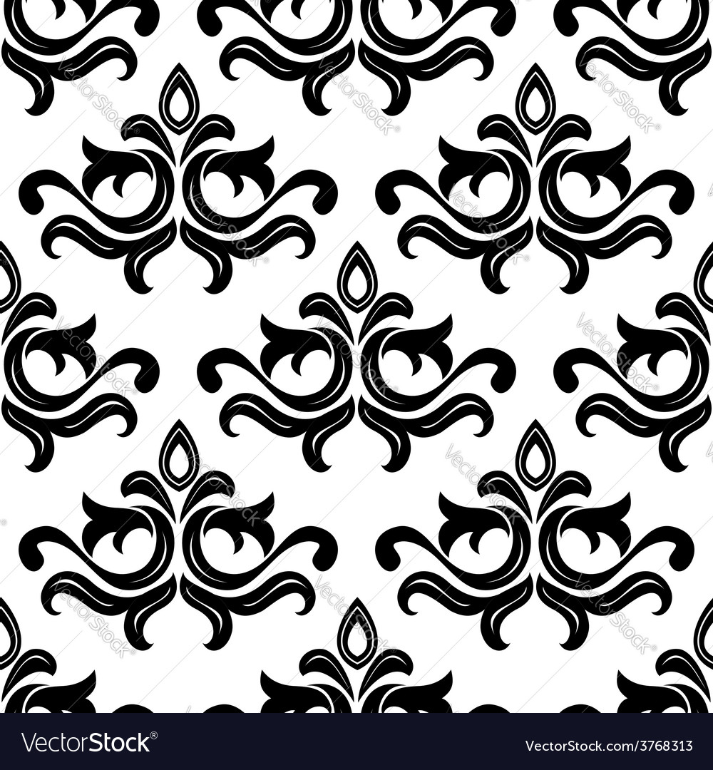 Black floral seamless pattern vector | Price: 1 Credit (USD $1)