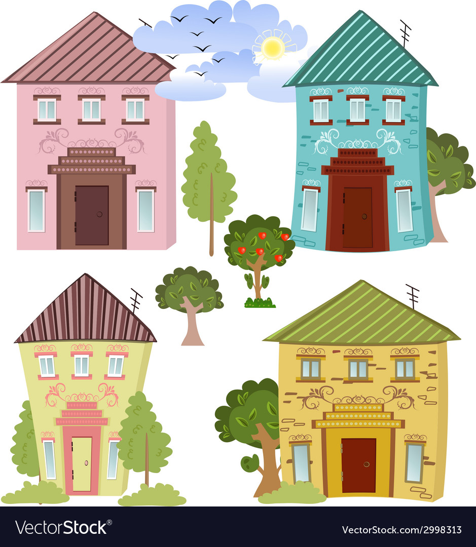 Collection of cute houses vector   Price: 1 Credit (USD $1)
