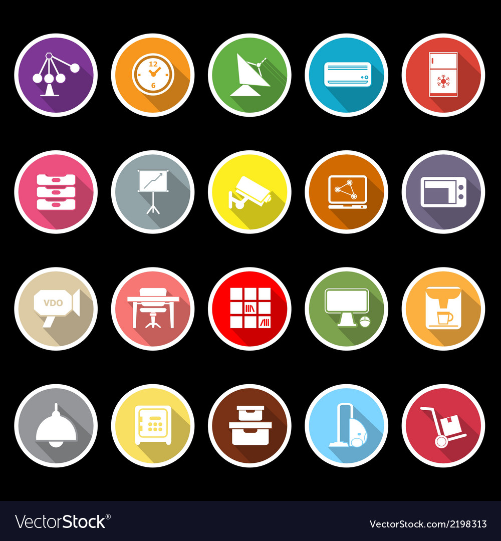 General office icons with long shadow vector | Price: 1 Credit (USD $1)