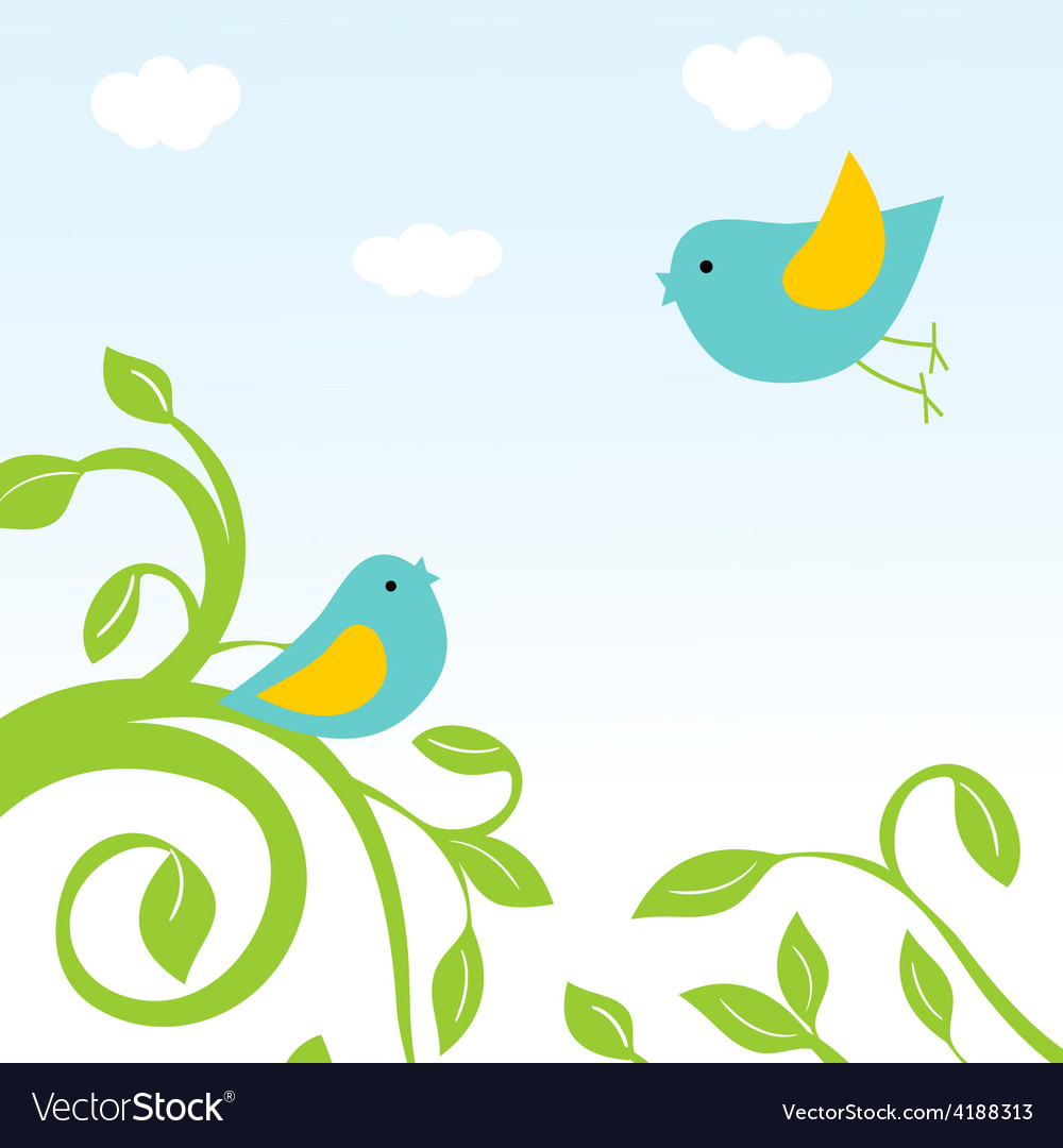 Happy easter card with birds and eggs in the nest vector | Price: 1 Credit (USD $1)