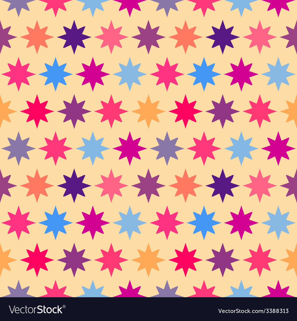 Retro colorful star seamless pattern vector | Price: 1 Credit (USD $1)