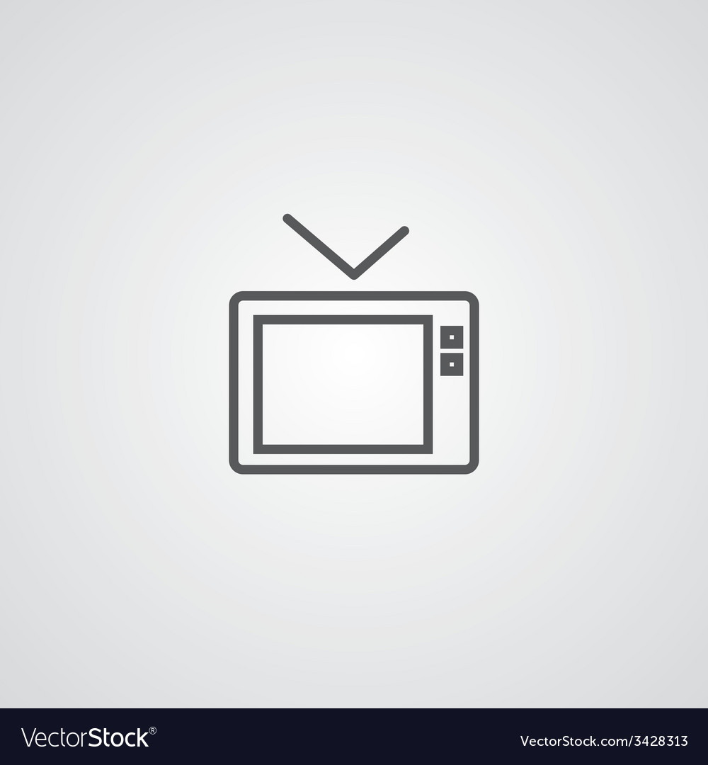 Tv outline symbol dark on white background logo vector | Price: 1 Credit (USD $1)